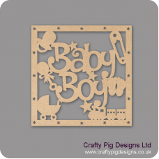 3mm MDF Squarre Baby Boy With Shapes Box Topper - with star cut out border Baby Shapes