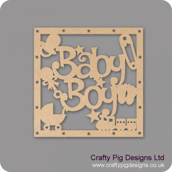 3mm MDF Squarre Baby Boy With Shapes Box Topper - with star cut out border