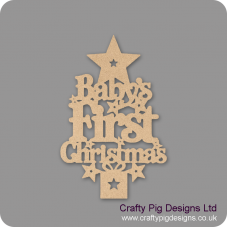 3mm MDF Baby's First Christmas Tree with Plinth Trees Freestanding, Flat & Kits