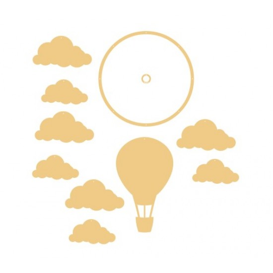 3mm mdf Balloon and Cloud Mobile Basic Shapes
