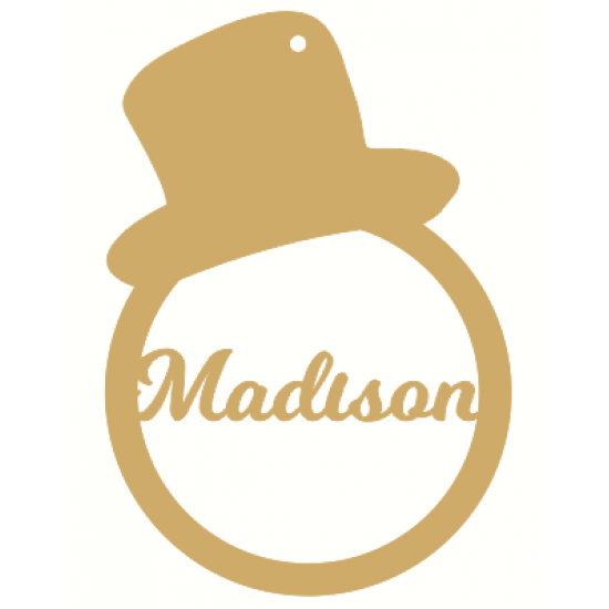 3mm mdf Personaliased Top Hat Bauble Personalised and Bespoke