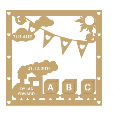 3mm MDF Baby Birth Plaque - Train Design Baby Shapes