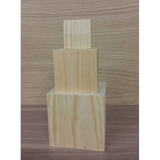 Set of 3 Cube Blocks (1 of each size 45x45mm, 70x70mm, 100x100mm) Wooden Blocks, Tea Lights and Stacking Block Sets