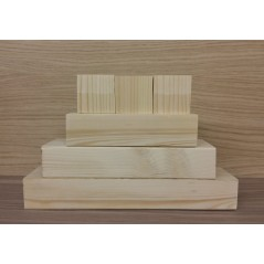 3 Tier Rounded Wood Set with 3 Cubes (150mm, 200mm, 250mm + 3 x 45mm cubes)