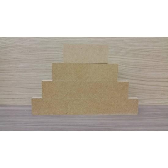 4 Tier MDF Separate Block Set (40mm high x 100mm, 150mm, 200mm, 250mm) Wooden Blocks, Tea Lights and Stacking Block Sets