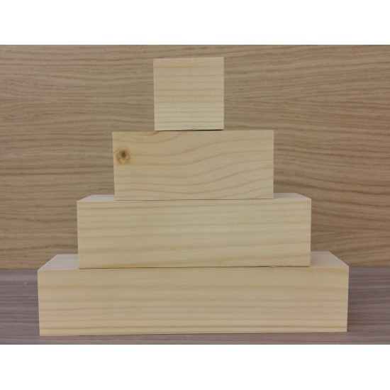 Small 3 Tier Wooden Block Set with 1 cube - 45mm wood (100mm, 150mm, 200mm + 1 x 45mm cube) Wooden Blocks, Tea Lights and Stacking Block Sets