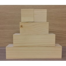 Small 3 Tier Wooden Block Set with 2 cubes - 45mm wood (100mm, 150mm, 200mm + 2 cubes 45mm) Wooden Blocks, Tea Lights and Stacking Block Sets