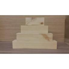 4 Tier Wooden Block Set - 45mm wood (100mm, 150mm, 200mm, 250mm) Wooden Blocks, Tea Lights and Stacking Block Sets