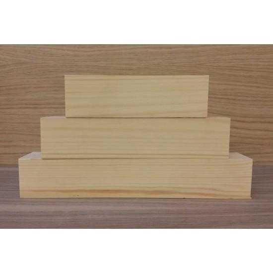 Larger 3 Tier Wooden Block Set - 45mm wood (150mm, 200mm, 250mm) Wooden Blocks, Tea Lights and Stacking Block Sets