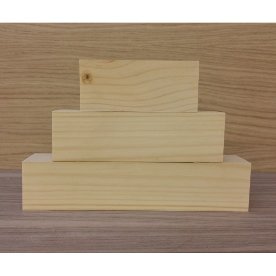 Small 3 Tier Wooden Block Set - 45mm wood (100mm, 150mm, 200mm) Wooden Blocks, Tea Lights and Stacking Block Sets