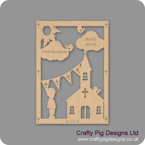 3mm MDF Boy Confirmation Plaque Baby Shapes
