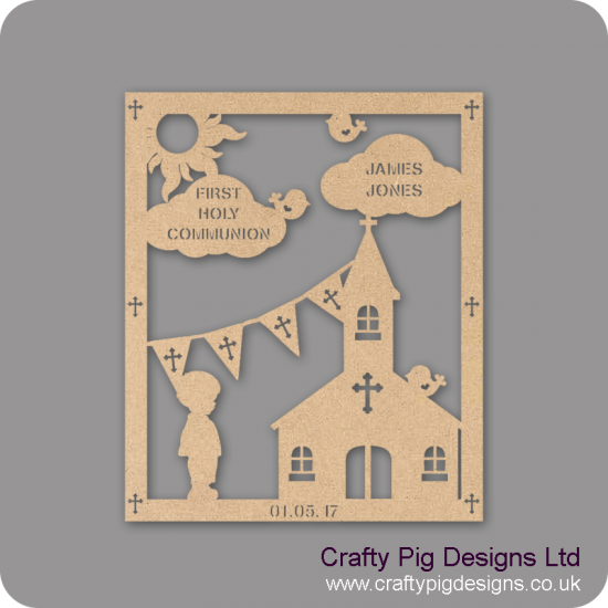 3mm MDF Boy First Holy Communion Plaque Baby Shapes