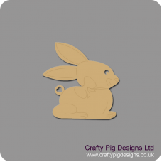 3mm MDF Bunny Rabbit with Bow Detail Easter