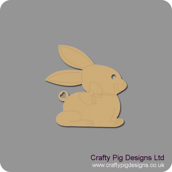 3mm MDF Bunny Rabbit with Bow Detail