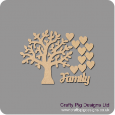 3mm MDF Chunky Branch Family Tree Pack Kit Standard Hearts Trees Freestanding, Flat & Kits