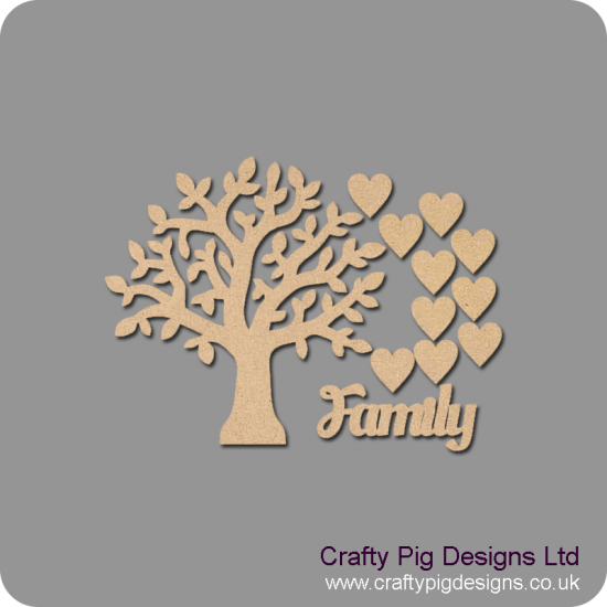 3mm MDF Chunky Branch Family Tree Pack Kit Standard Hearts