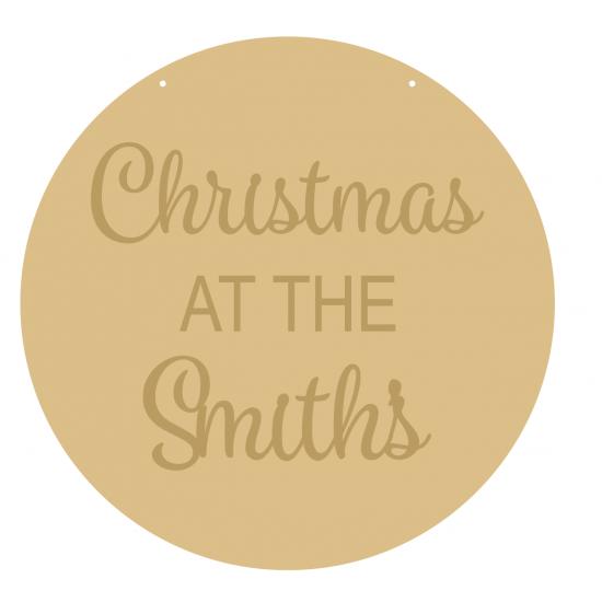 4mm OAK VENEER Circle Christmas At The Family Name (3mm words) Personalised and Bespoke