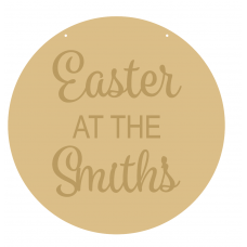 4mm OAK VENEER Circle Easter At The Family Name (3mm words) Easter
