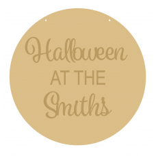 4mm OAK VENEER Circle Halloween At The Family Name (3mm words) Halloween