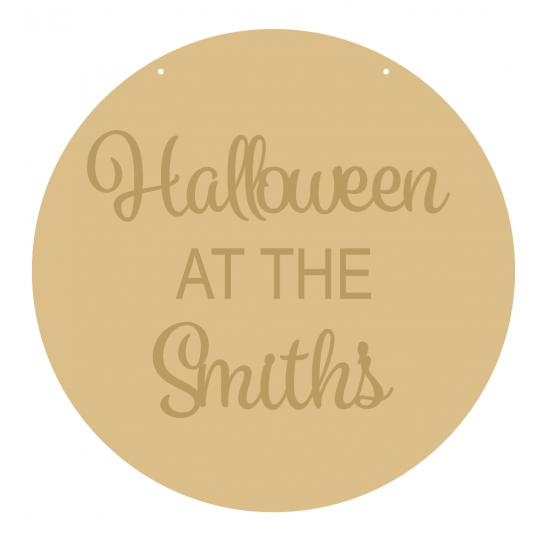 4mm OAK VENEER Circle Halloween At The Family Name (3mm words) Halloween