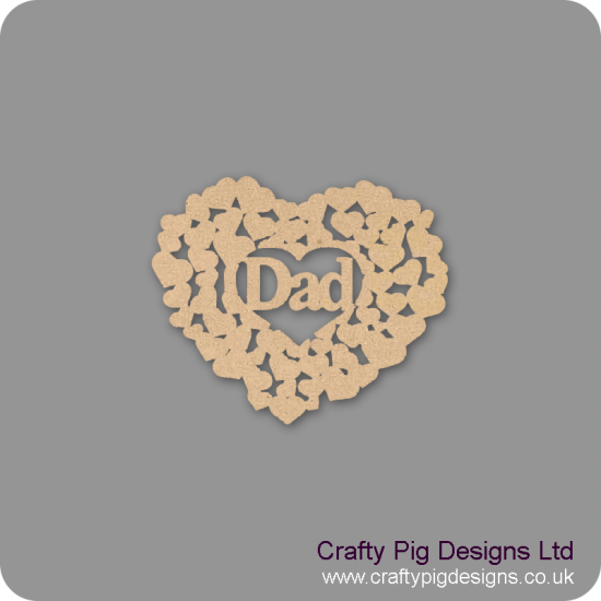 3mm MDF Dad heart of hearts