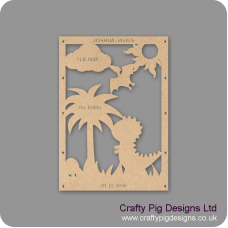 3mm MDF Dinosaur Birth Plaque Baby Shapes