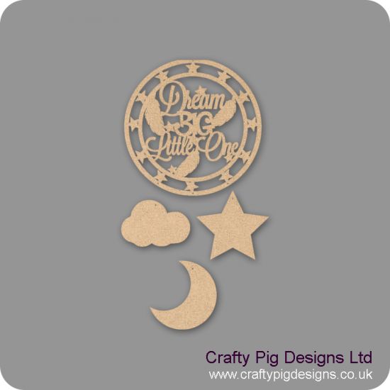 3mm mdf Dream Big Little One - Dream Catcher (with Star Band) Personalised and Bespoke