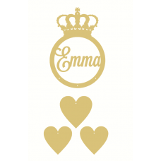 3mm mdf Personalised Princess Crown  Dream Catcher (with hearts) Personalised and Bespoke