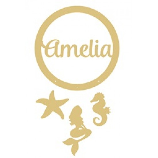 3mm mdf Personalised Starfish and Mermaid and Sea Horse Dream Catcher Personalised and Bespoke