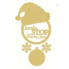 3mm mdf Personalised Santa Stop Here Santa Hat Dream Catcher Personalised and Bespoke