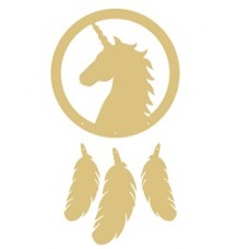 3mm mdf Unicorn Head and Feathers Dream Catcher Dream Catchers