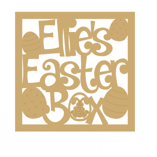 3mm MDF Personalised Square Easter Box Topper Easter