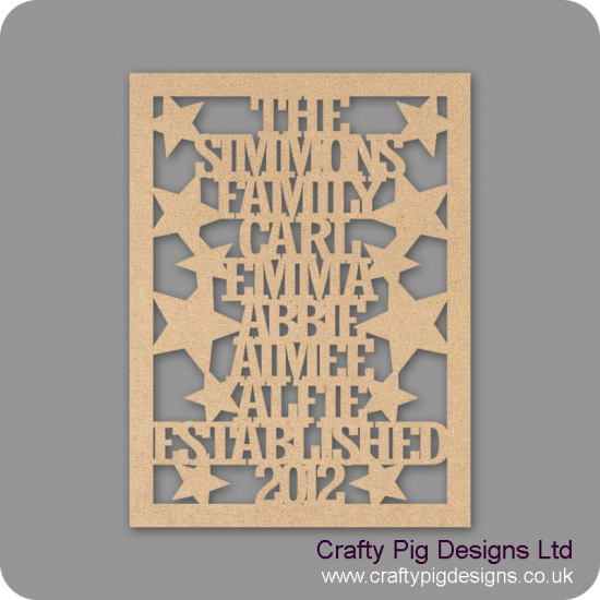 3mm MDF Family Name Plaque with border and shapes Personalised and Bespoke