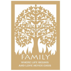 3mm MDF Framed Family Tree with wording (includes 10 hearts) Trees Freestanding, Flat & Kits