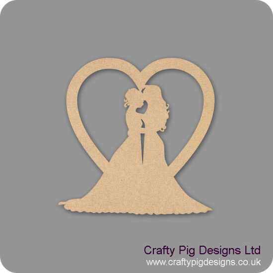 3mm MDF Gay Wedding Heart - Female Hearts