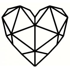3mm mdf Geometric Heart Hearts