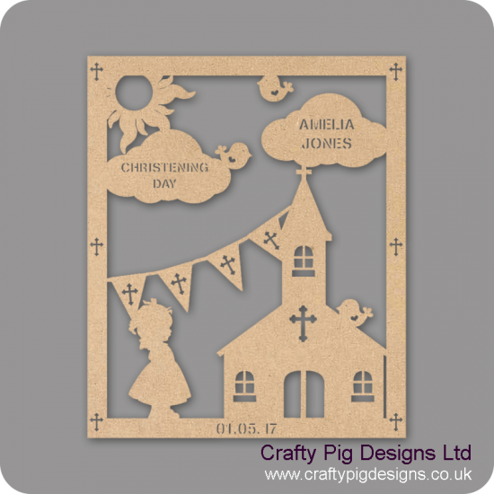 3mm MDF Girl Christening Plaque