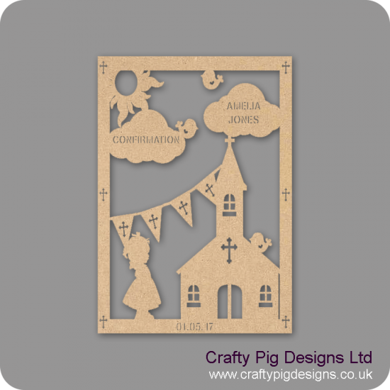 3mm MDF Girl Confirmation Plaque Baby Shapes