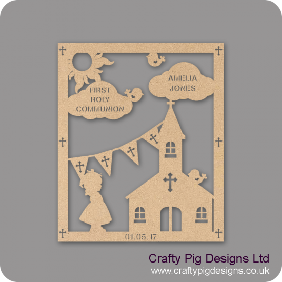 3mm MDF Girl First Holy Communion Plaque