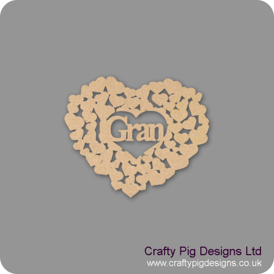 3mm MDF Gran heart of hearts Hearts With Words