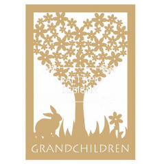 3mm MDF Framed Heart Grandchildren Tree with wording (includes 10 hearts) Trees Freestanding, Flat & Kits