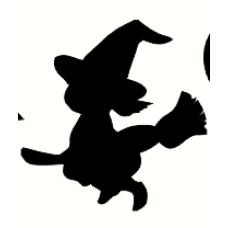 3mm MDF Witch on Broomstick Halloween