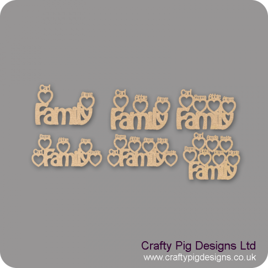 4mm MDF Hanging Family design with personalised heart photo frames around
