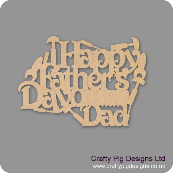 3mm MDF Happy Father's Day Dad Hanging Plaque With Tools Fathers Day