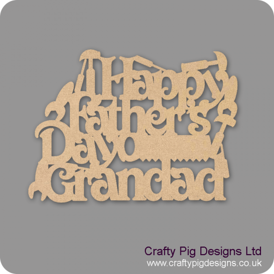 3mm MDF Happy Father's Day Grandad Hanging Plaque With Tools Fathers Day