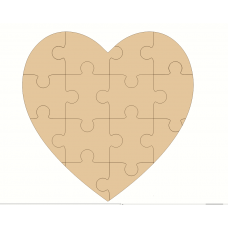 3mm MDF Jigsaw Heart Hearts