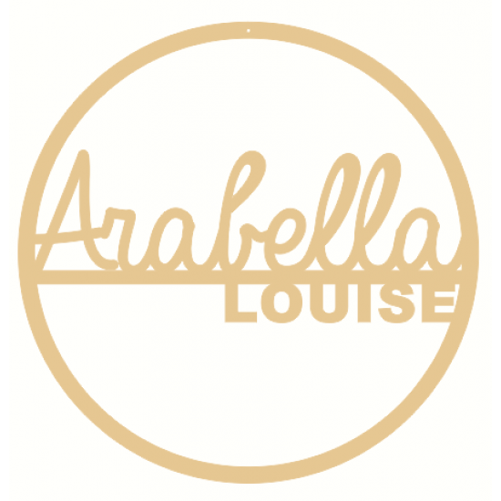 6mm mdf  Double Line Name Hoop (Script Font) Personalised and Bespoke