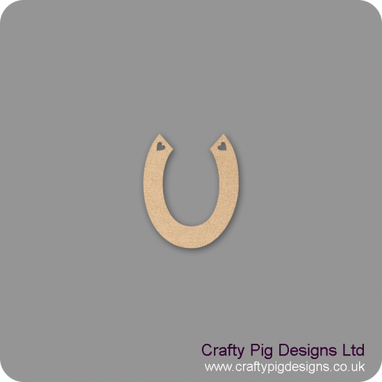 3mm MDF Horseshoe With Hearts