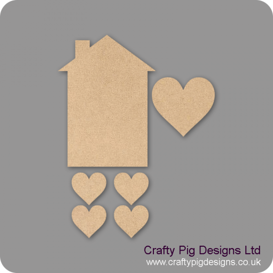 3mm MDF House and hearts set (4 hearts) Basic Plaque Shapes