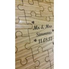 Oak Veneer Wedding Jigsaw Guest Book Jigsaws